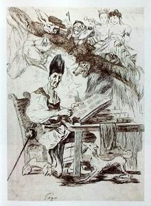 La biblioteca di don Chisciotte  Disegno di Francisco de Goya