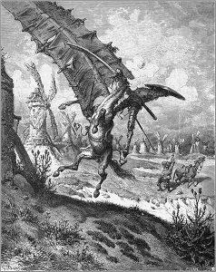 Don Chisciotte che lotta contro i mulini a vento nel disegno di Gustave Doré