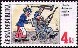 Švejk va all'arruolamento con la Sig.ra Müllerová, illustrazione di Josef Lada