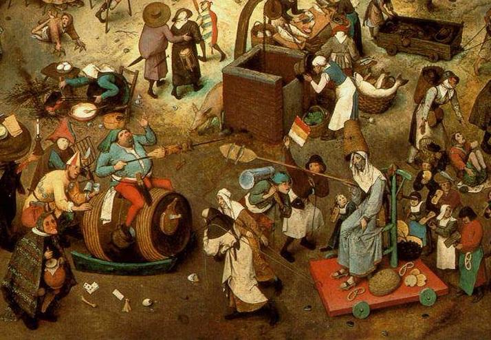 Dettaglio dell'opera di Bruegel, la Quaresima é magra, il Carnevale grasso.