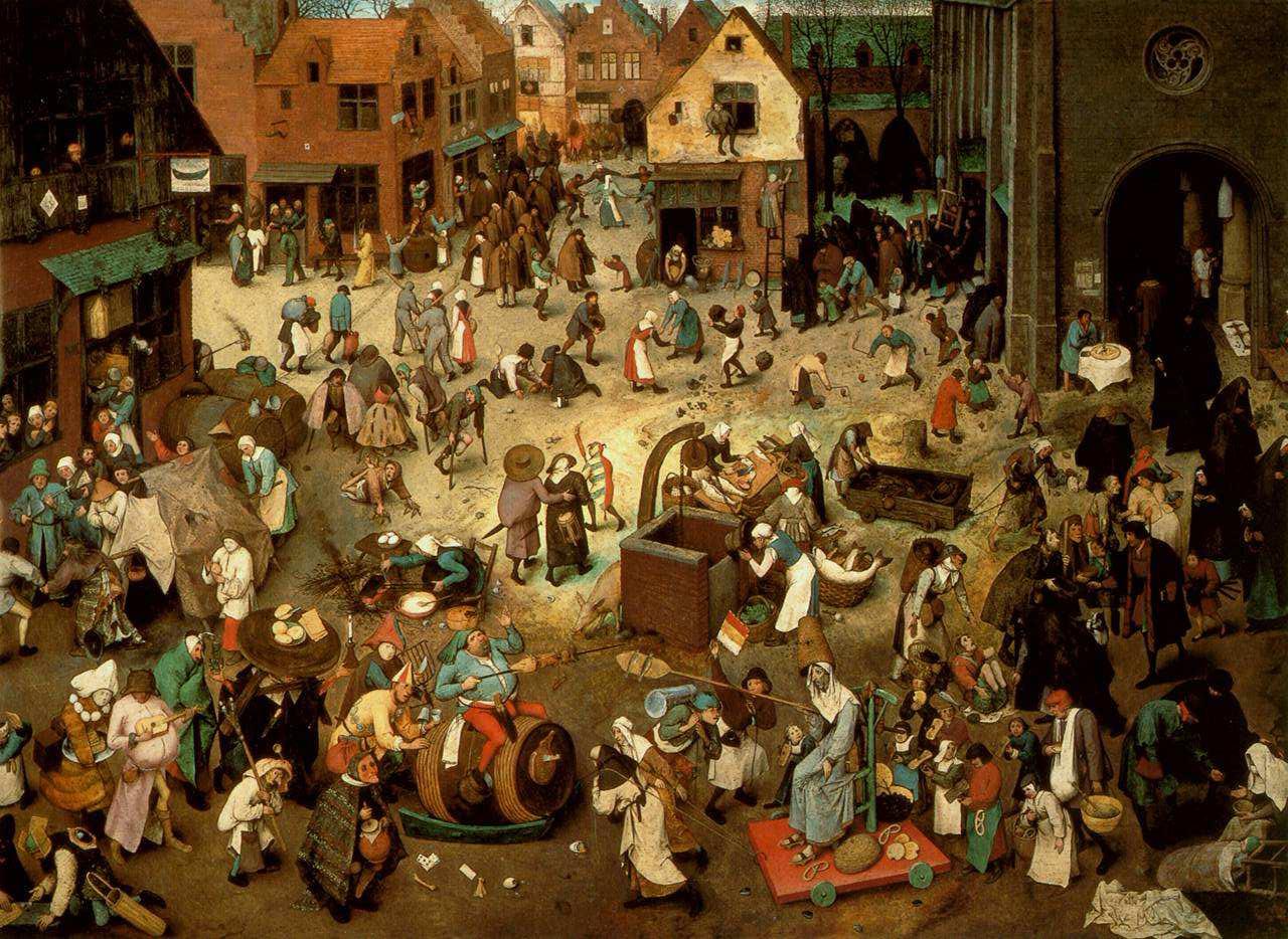 Lotta tra Carnevale e Quaresima - Wimmelbild di Pieter Bruegel il Vecchio del 1559.