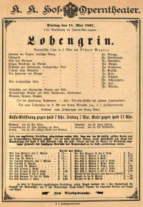 Locandina del Lohengrin di Wagner.