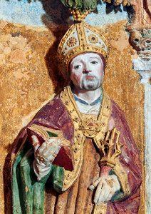 Sant'Agostino, particolare dell'altare della Canonica di Santa Maria di Vezzolano (Albugnano, AT) risalente alla fine del XV secolo. Foto di la Cabalesta