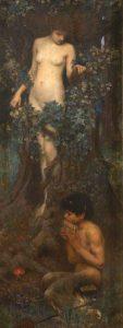 John William Waterhouse:  Amadriade con giovane Satiro  ai suoi piedi che suona il flauto  di Pan, 1895