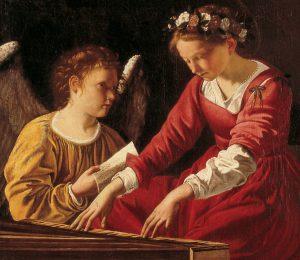 Orazio Gentileschi: Santa Cecilia che suona la spinetta, 1600 circa, Perugia: Galleria Nazionale dell'Umbria