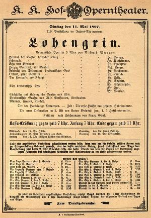 La locandina della prima opera diretta da Mahler